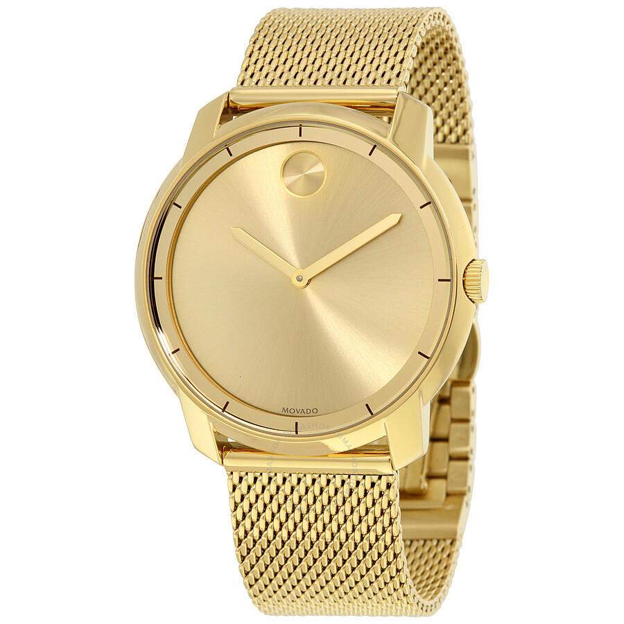 Movado Bold Gold Dial Gold Tone Mesh Men S Watch 3600373