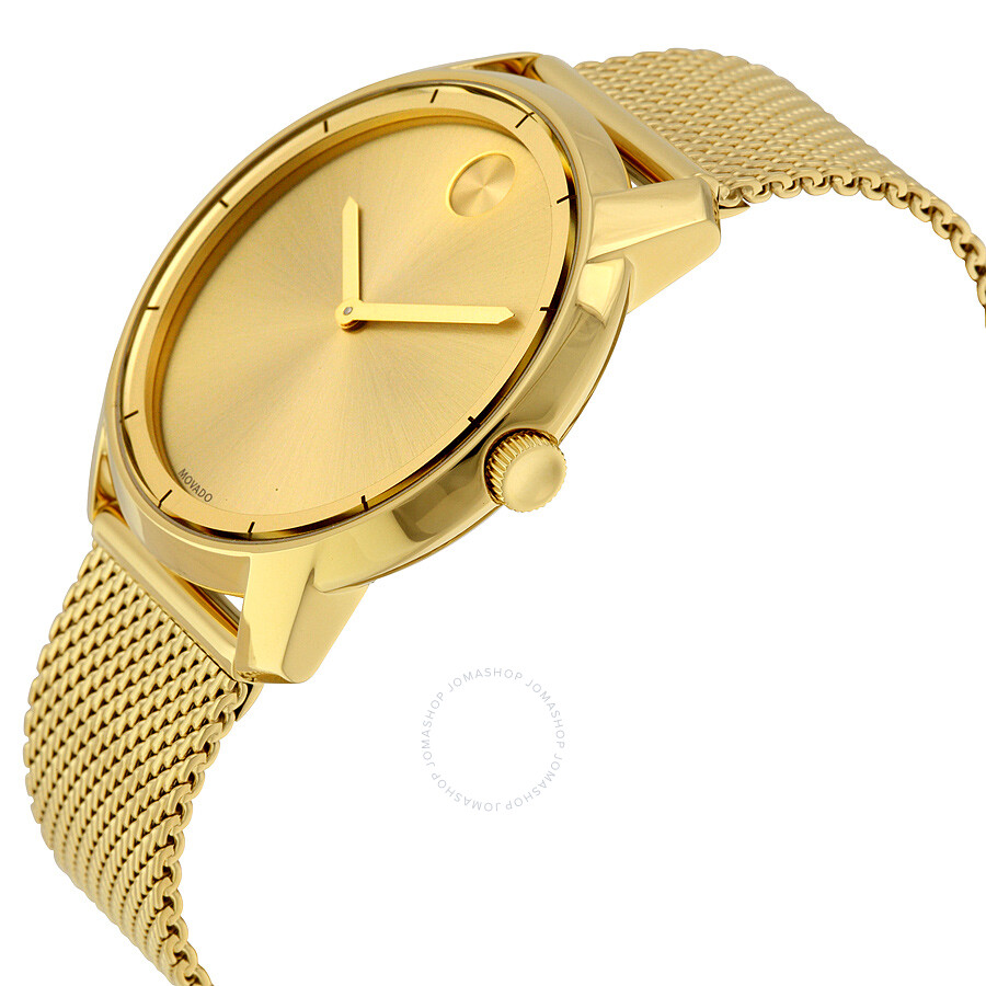 movado bold gold gold tone mesh s 3600373