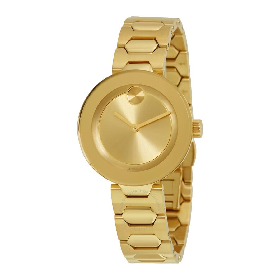 Movado bold gold dial ladies watch 3600382 bold movado watches jomashop for Gold dial ladies watch