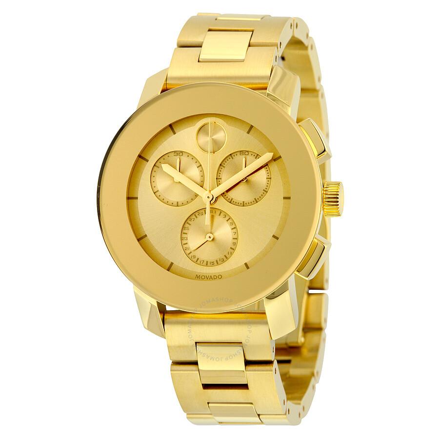 movado bold chronograph gold metallic dial unisex watch 3600358