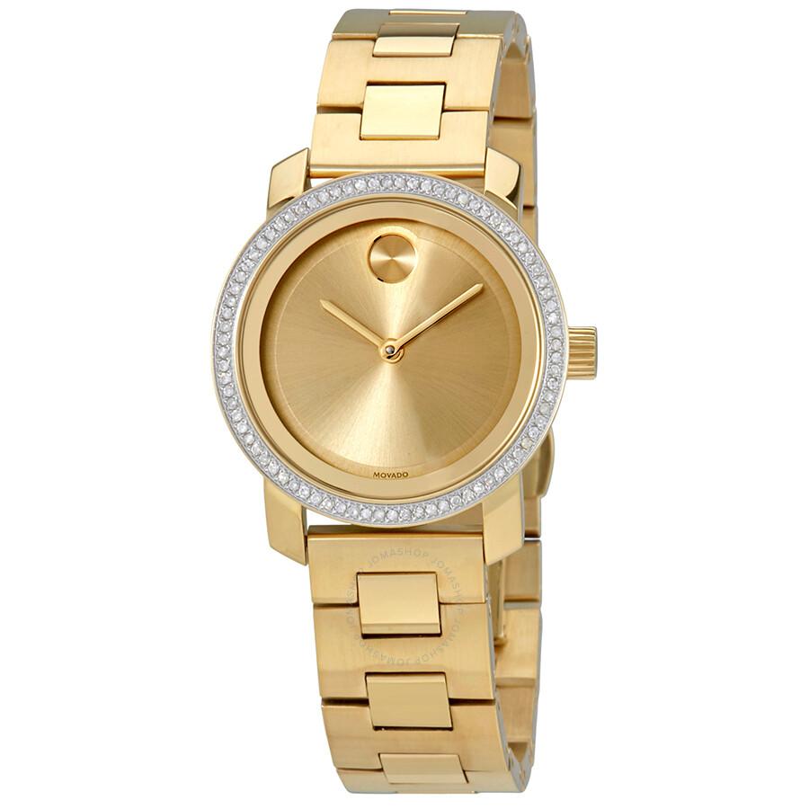 Movado bold gold dial ladies watch 3600440 bold movado watches jomashop for Gold dial ladies watch