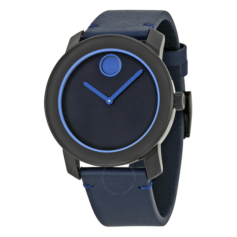 movado bold navy blue dial blue leather band navy blue