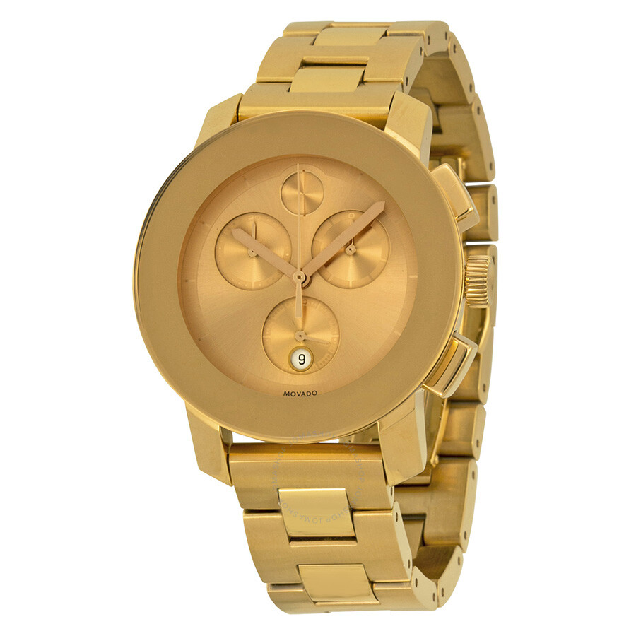 movado bold gold tone stainless steel s
