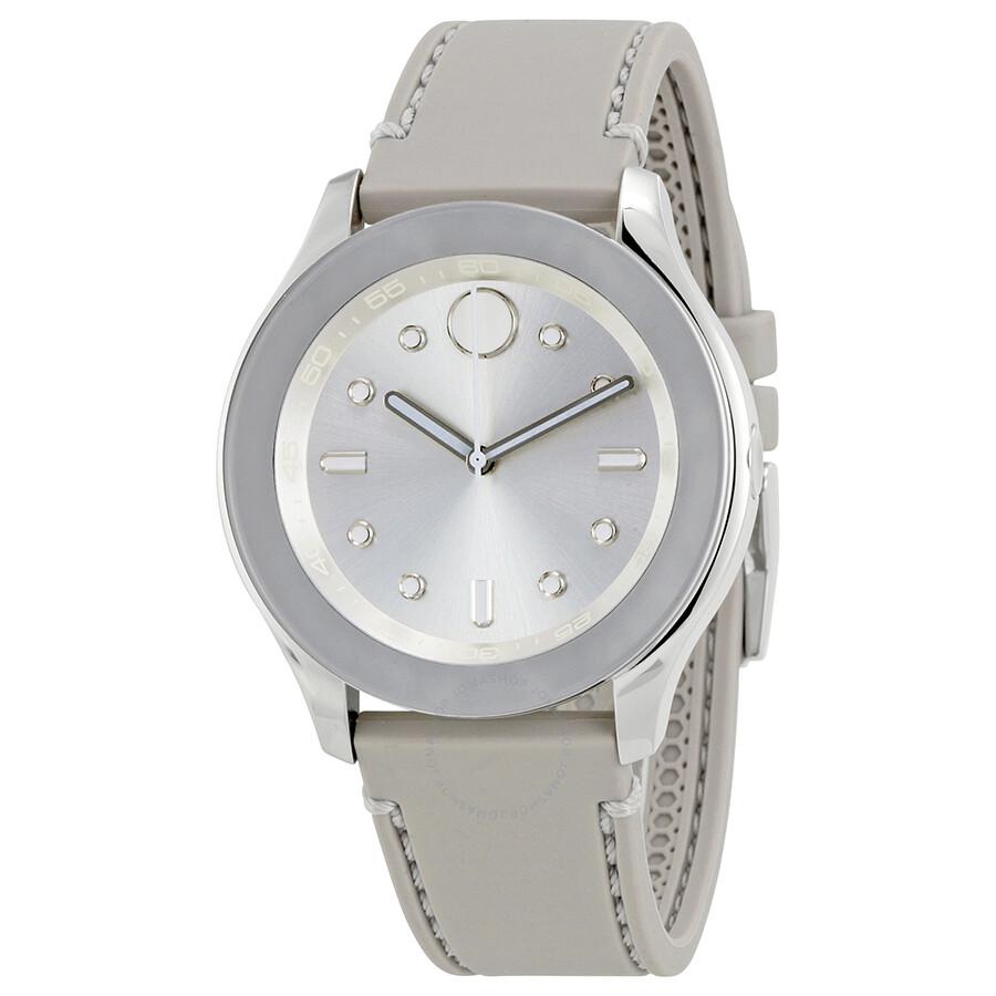 a9494b4dc1c Movado Bold Silver Dial Grey Silicone Ladies Watch 3600412 - Bold ...
