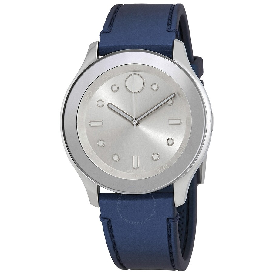 7293c9c49 Movado Bold Silver Dial Blue Rubber Watch