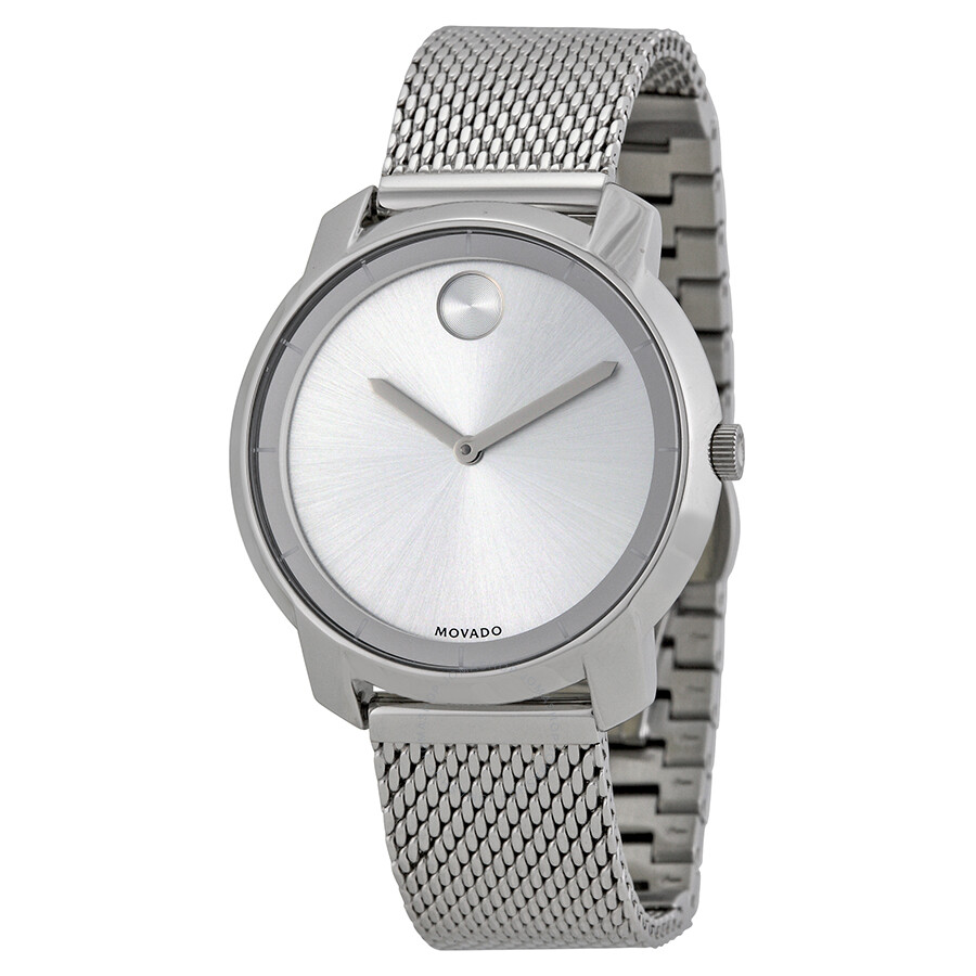 Movado bold silver dial stainless steel mesh ladies watch 3600241 bold movado watches for Stainless steel watch