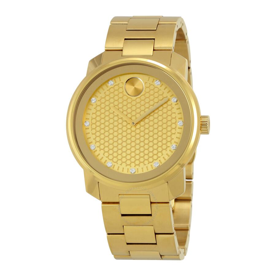 movado bold yellow gold tone diamond dial quartz men s watch movado bold yellow gold tone diamond dial quartz men s watch 3600374