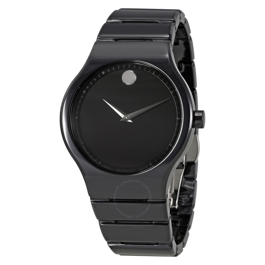 Movado cerami black dial men 39 s ceramic watch 0607047 movado watches jomashop for Ceramic man watch