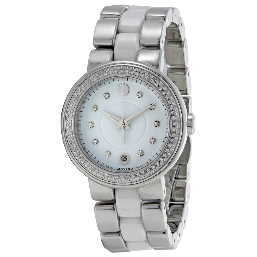 f1f75fa6a Movado Cerena Diamond White Ceramic and Stainless Steel Ladies Watch  0606625 ...