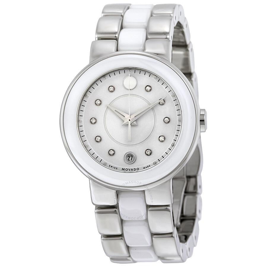 Movado Cerena Diamond Black Ceramic and PVD Ladies Watch ...