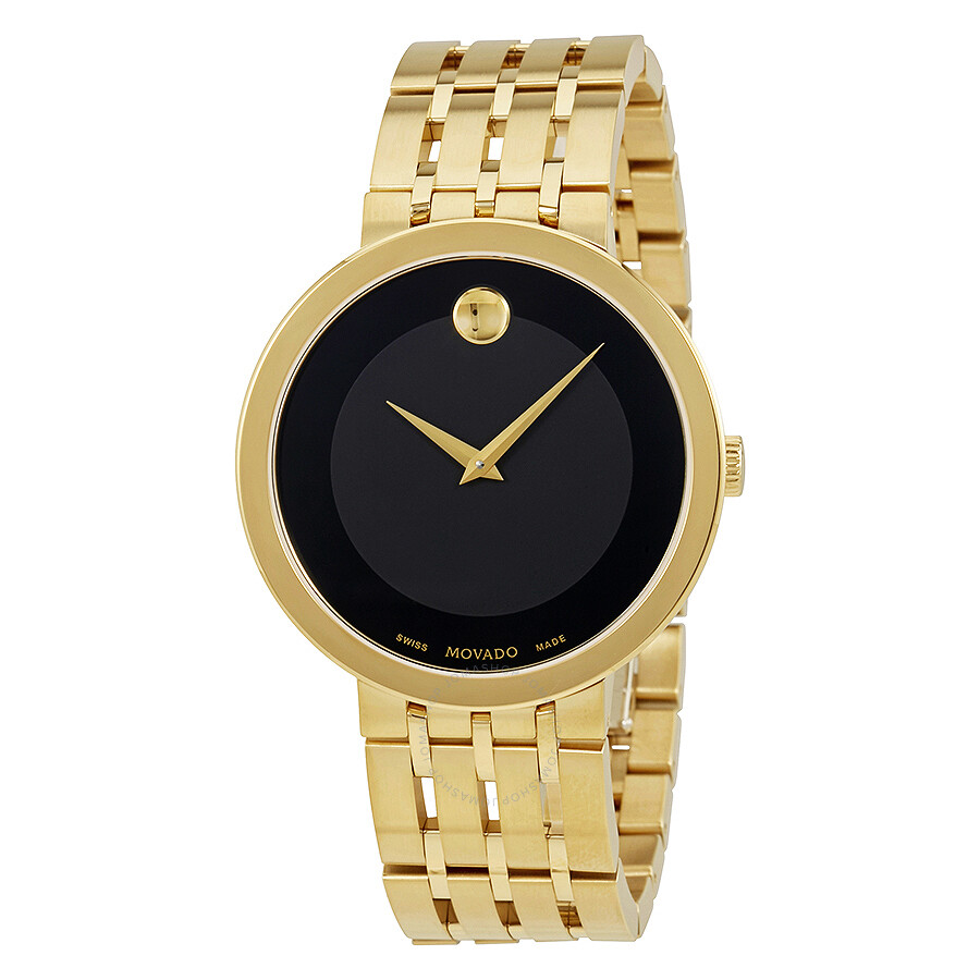 movado esperanza black dial men s gold tone watch 0607059
