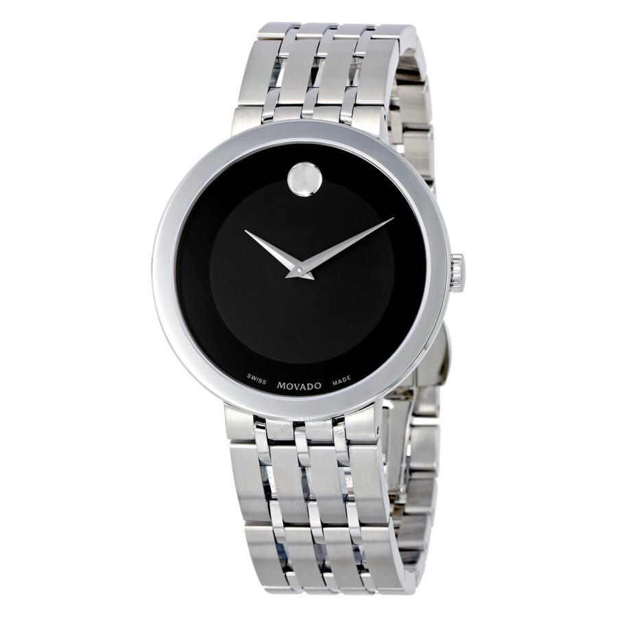 movado esperanza black dial stainless steel men s watch 0607057