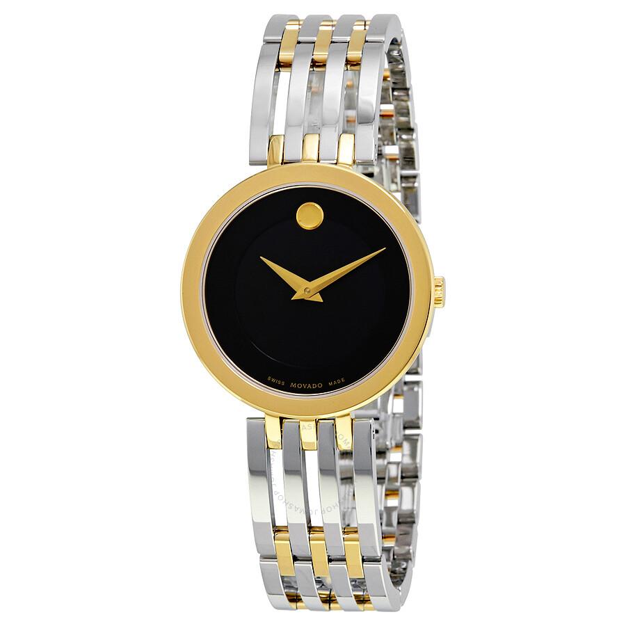 movado esperanza black museum dial ladies watch 0607053