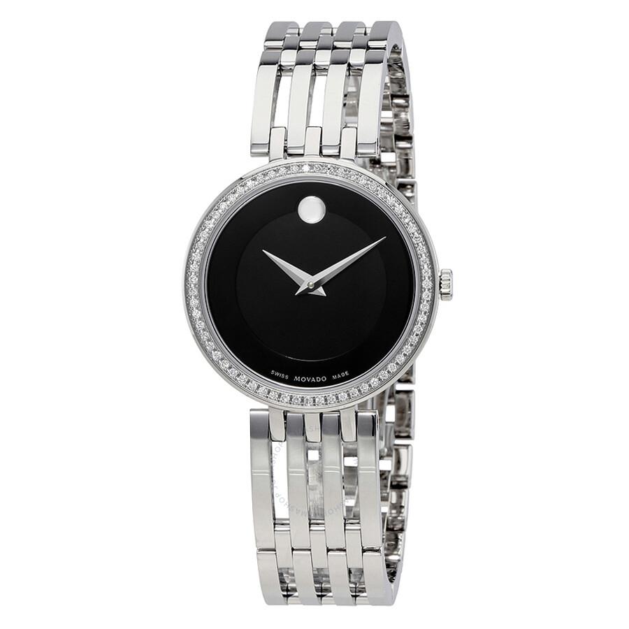 Movado Esperanza Matte Black Stainless Steel Ladies Watch 607052