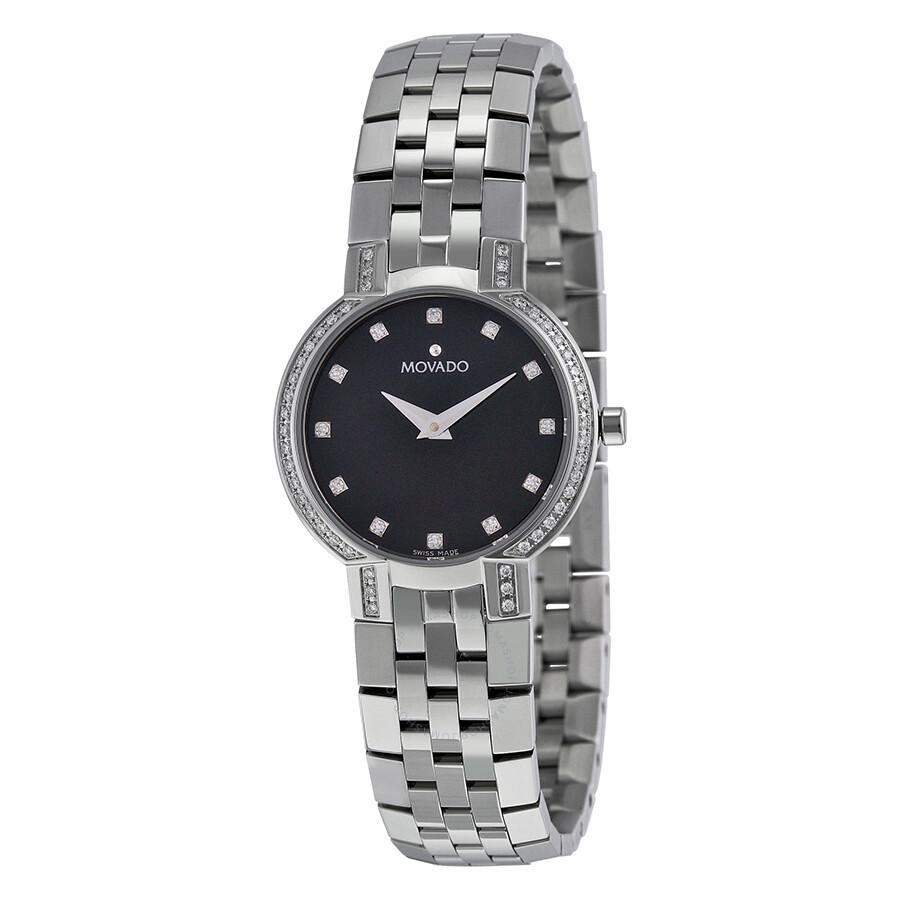 Movado faceto diamond black dial stainless steel ladies watch 0605586 faceto movado for Stainless watches