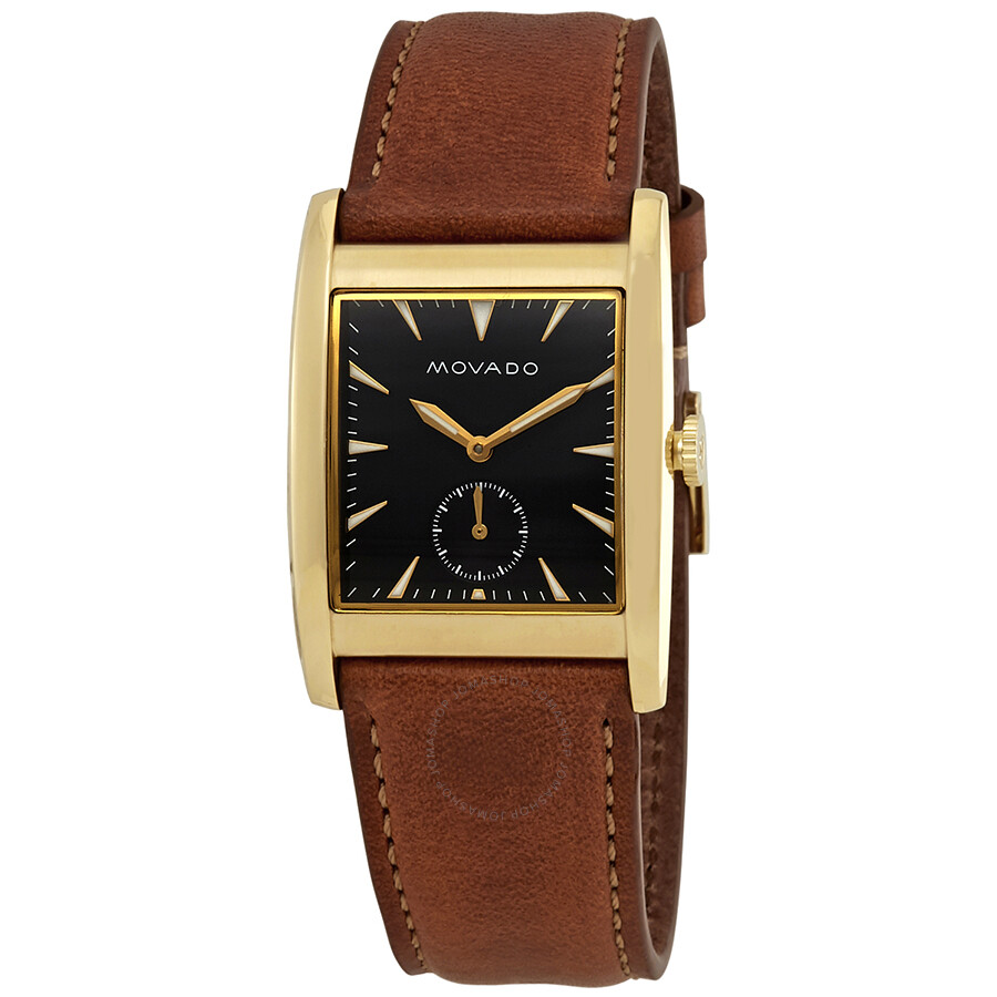 2b9a121a4d69 Movado Heritage Black Dial Brown Leather Men's Watch 3650043
