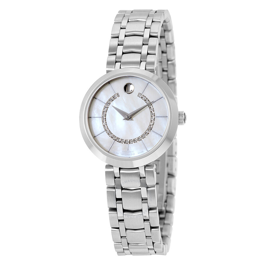 a2b1773ad26 Movado l881 Automatic White Mother of Pearl 29 Diamonds Dial Stainless  Steel Ladies Watch 0606920 ...