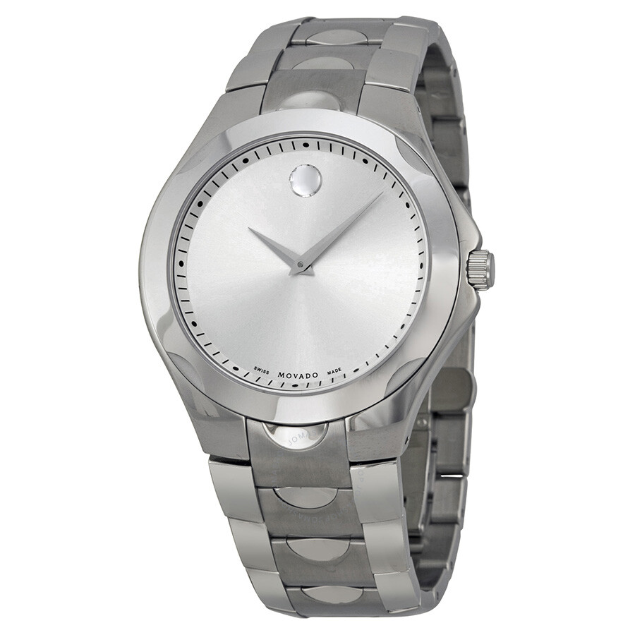 Movado men 39 s luno silver dial stainless steel watch 0606379 luno movado watches jomashop for Stainless steel watch