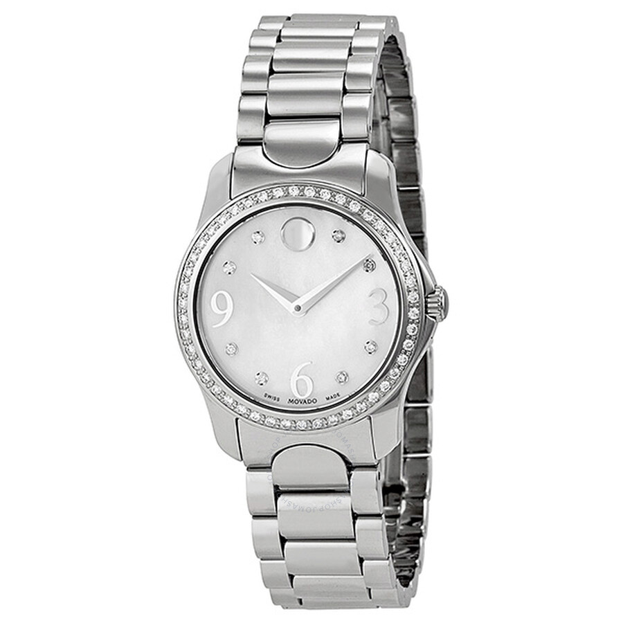 f1699811adf Movado Moda White Mother of Pearl Diamond Dial Stainless Steel Ladies Watch  0606706 ...