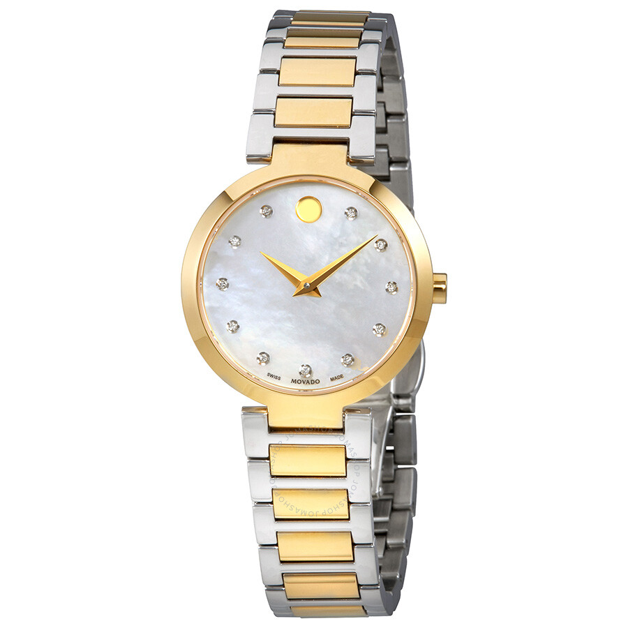 897f4865095 Movado Modern Classic Mother of Pearl Diamond Dial Ladies Watch 0607103 ...