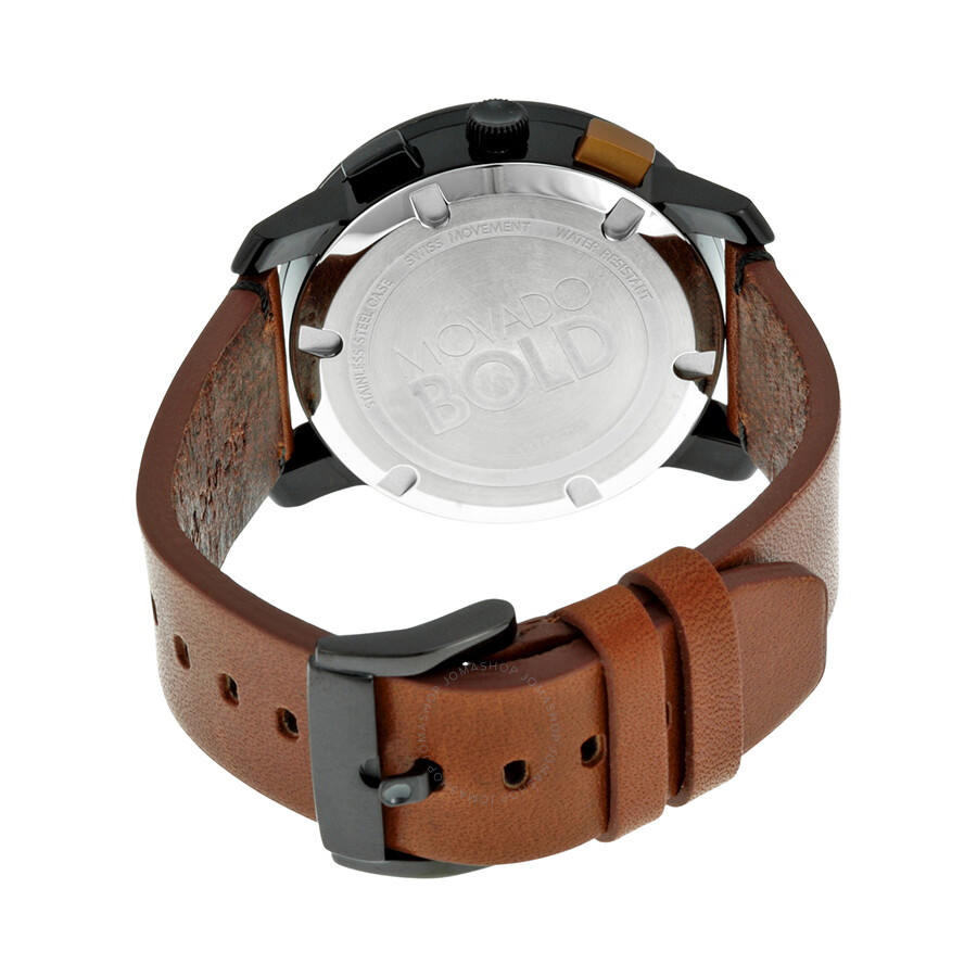 c0be5575a ... Movado Bold Chronograph Black Dial Cognac Leather Men's Watch 3600348