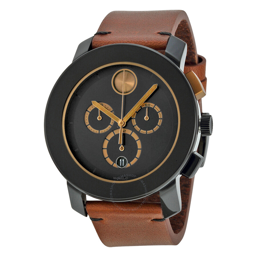 2aa8b0d21 Movado Bold Chronograph Black Dial Cognac Leather Men's Watch 3600348 ...