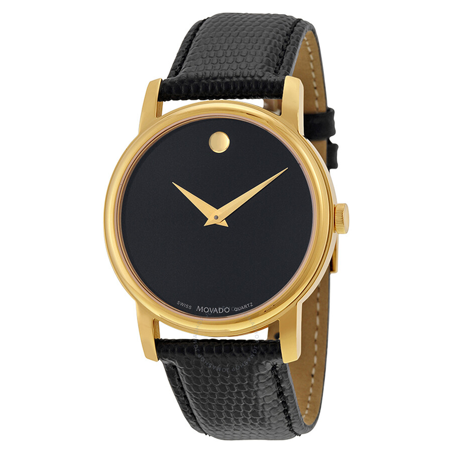 movado museum black dial black leather men s watch 2100005