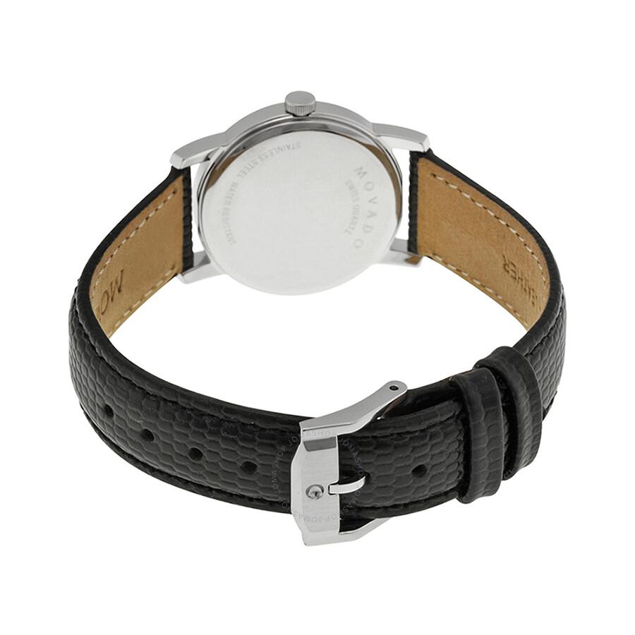 d48bc0a6d ... Movado Museum Black Dial Black Leather Strap Ladies Watch 2100004 ...