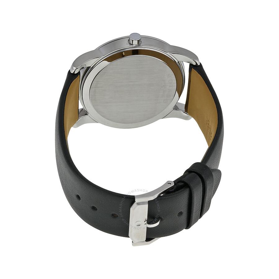 Movado museum black dial black leather strap men 39 s watch 0606502 museum movado watches for Black leather strap