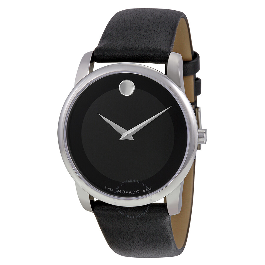 movado museum black dial black leather strap men s watch 0606502