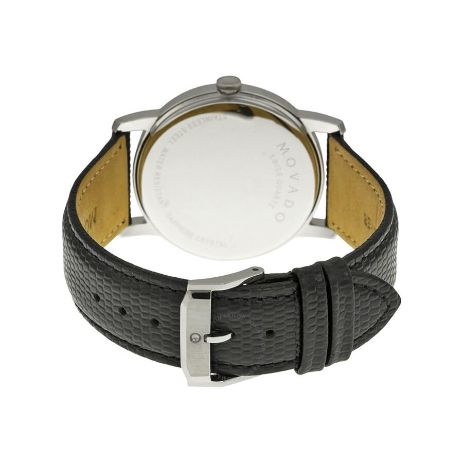 Movado museum black dial black leather strap men 39 s watch 2100002 museum movado watches for Black leather strap men
