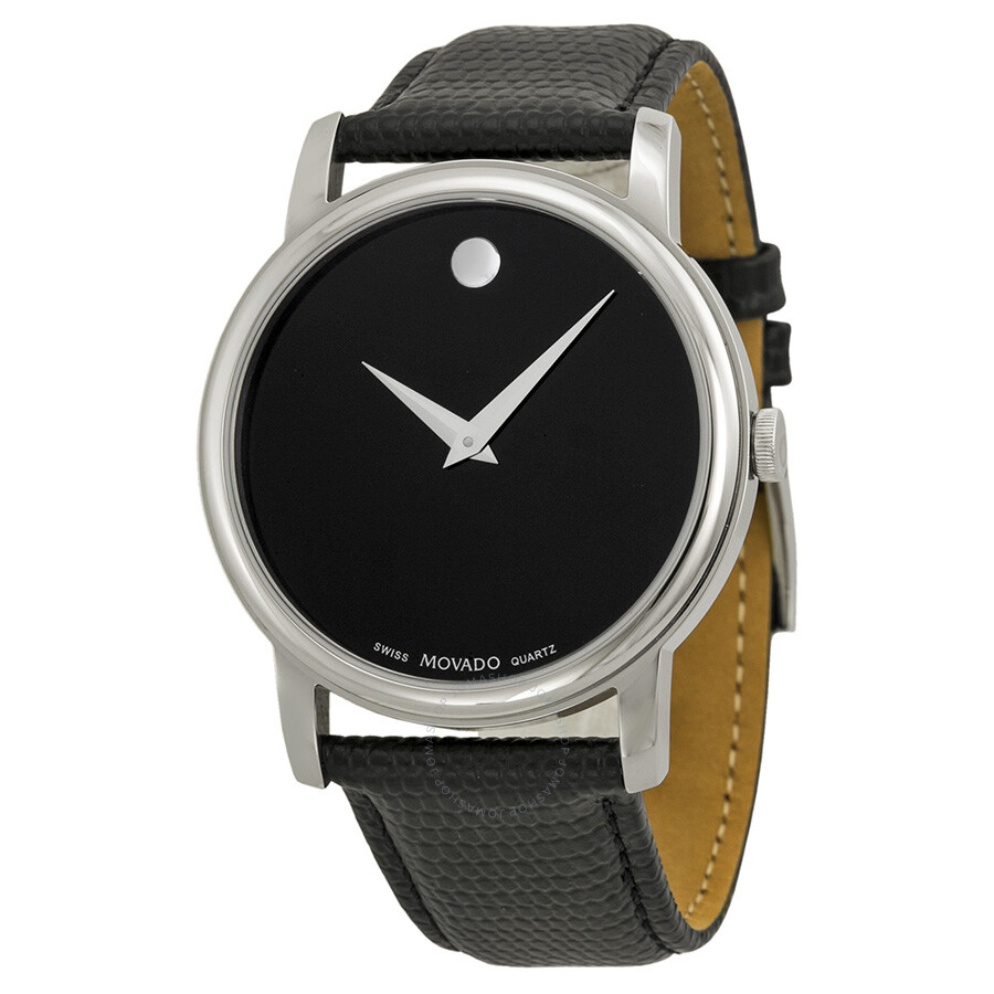 Movado museum black dial black leather strap men 39 s watch 2100002 museum movado watches for Leather watch for men