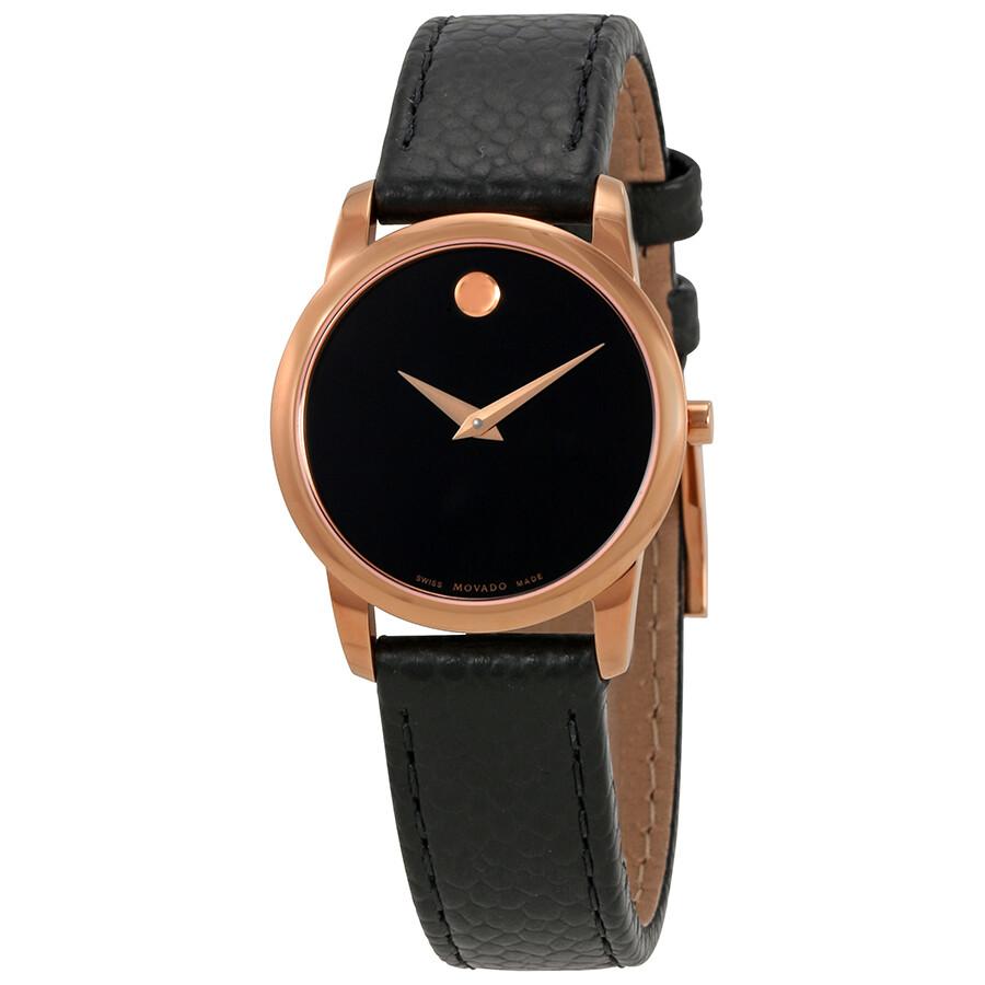 Movado Women's 0607061 'Museum' Black Leather Watch