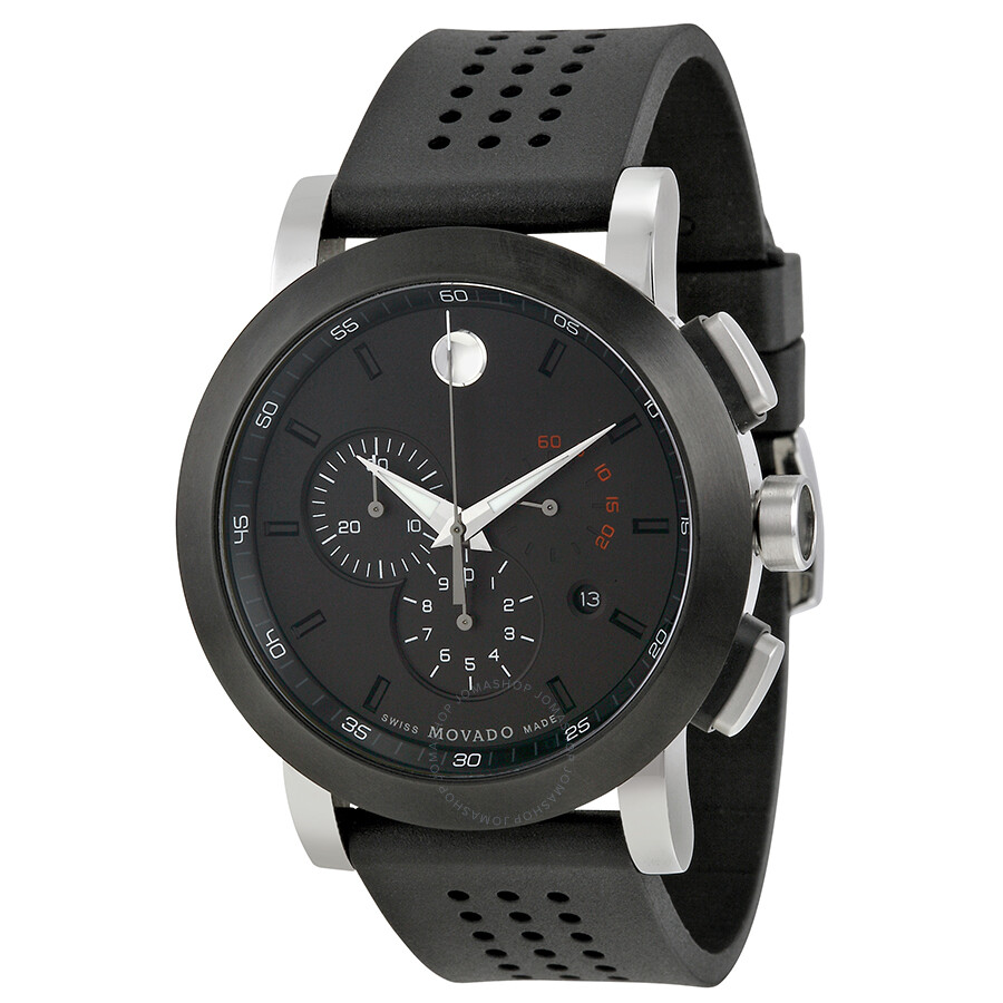 movado museum black pvd steel chronograph men s watch 0606545