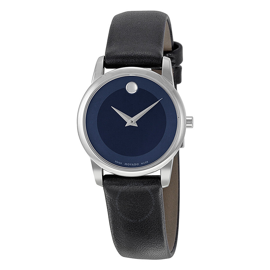 e7eb92ae9 Movado Museum Blue Dial Stainless Steel Case Black Leather Strap Ladies  Watch 0606611 ...