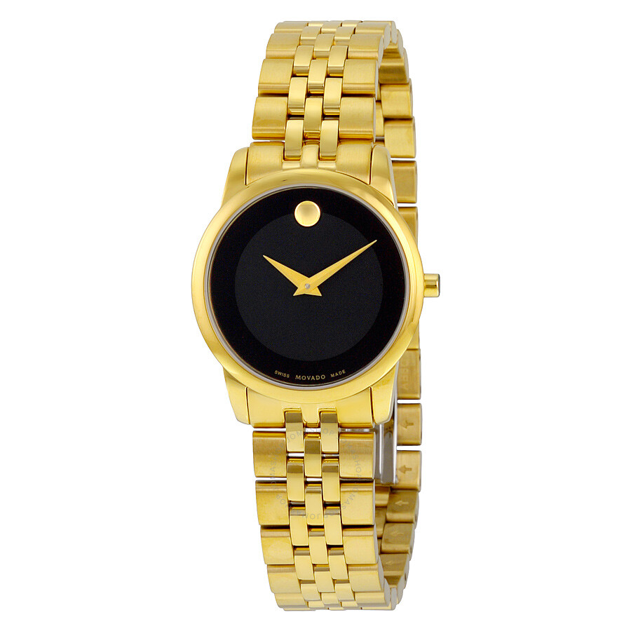 8d0f9ec14acc26 Movado Museum Classic Black Dial Yellow Gold PVD-finished Stainless Steel  Ladies Watch 0607005 ...