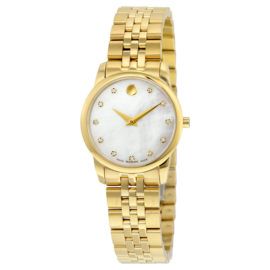 Movado museum classic white mother of pearl set with diamonds dial ladies watch 0606998 museum for Pearl watches