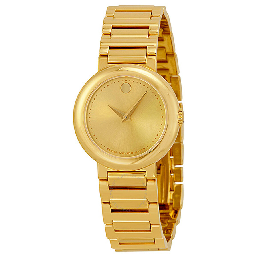 movado museum gold gold tone stainless steel
