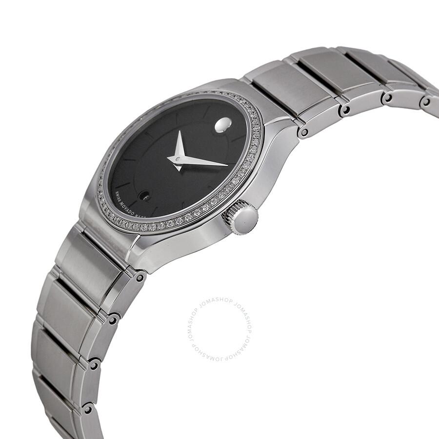 Movado quadro black dial diamond bezel ladies watch 0606495 quadro movado watches jomashop for Black bezel watches