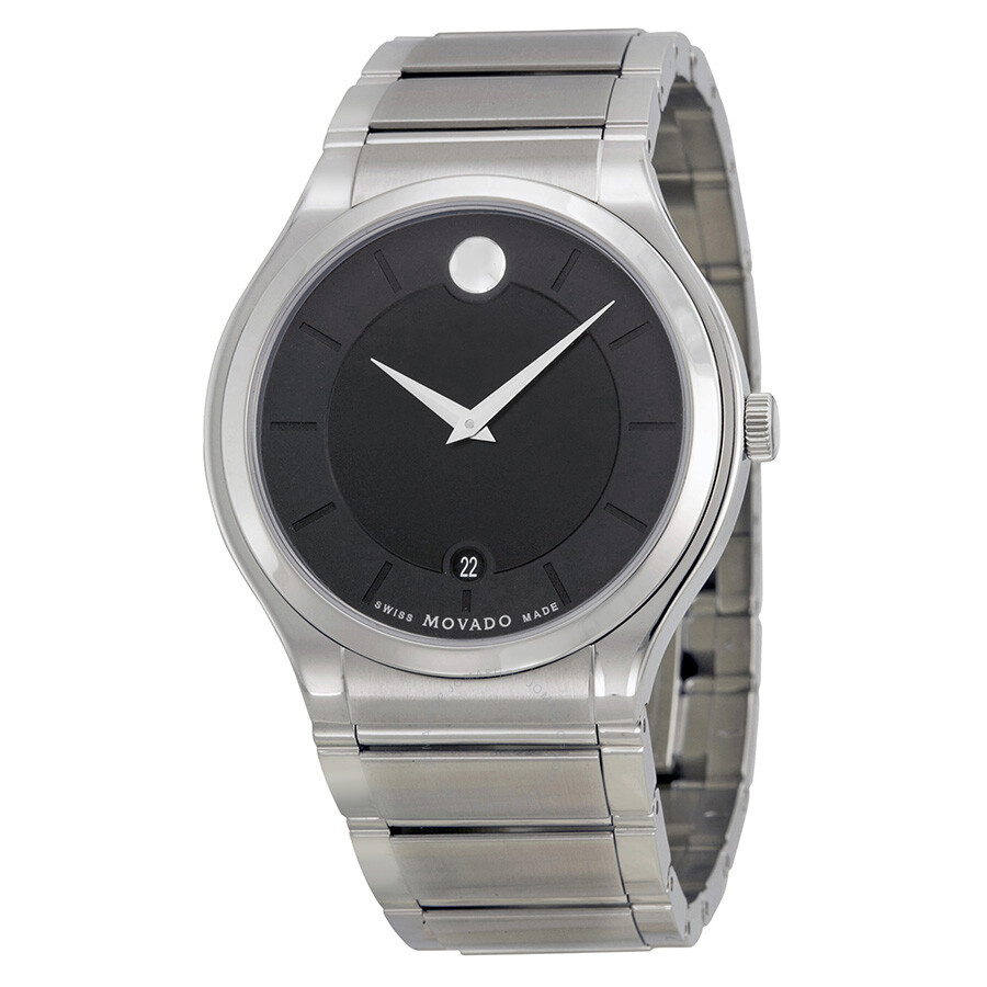 Movado Quadro Black Dial Stainless Steel Men S Watch 0606478