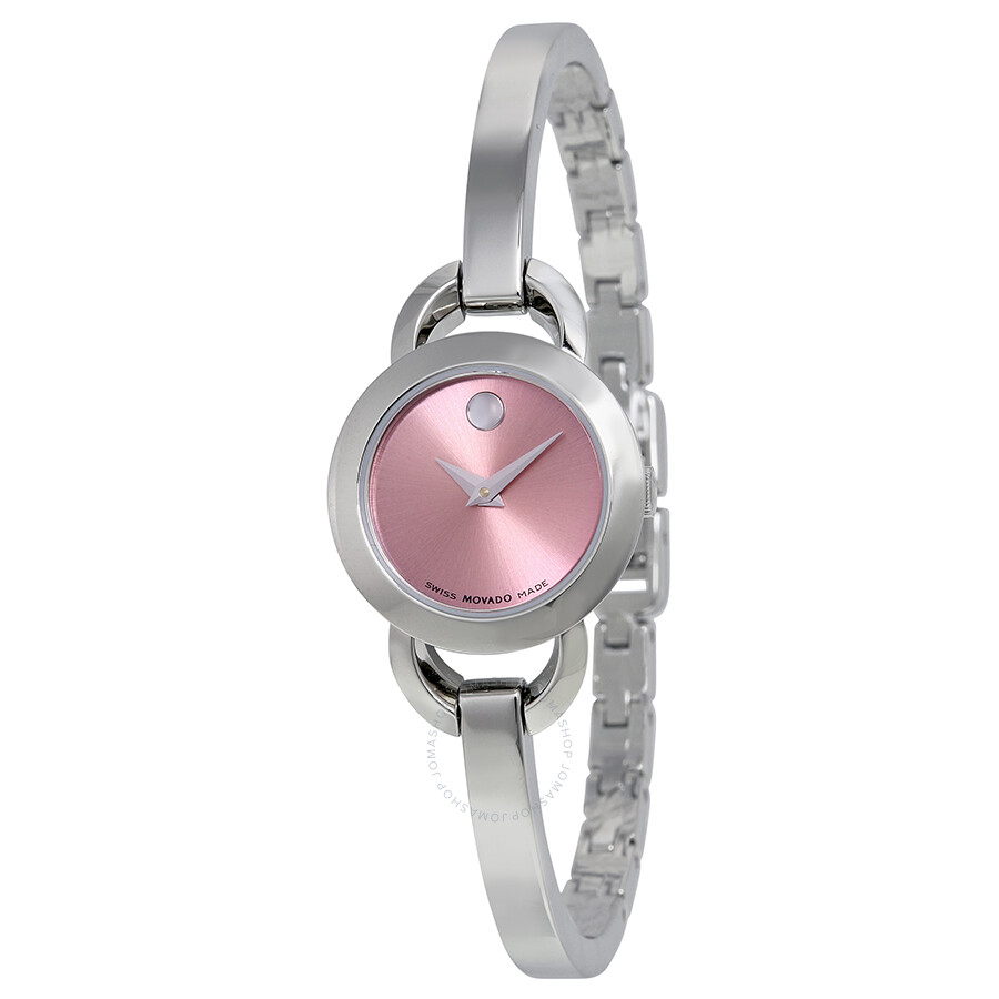 Movado rondiro pink dial stainless steel bangle ladies watch 0606797 rondiro movado for Ladies bangle watch