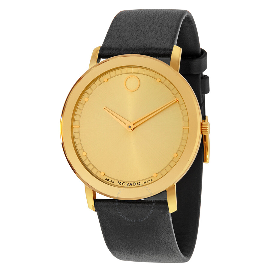 6fe36923f Movado Sapphire Gold Dial Black Leather Watch 0606883 - Sapphire ...