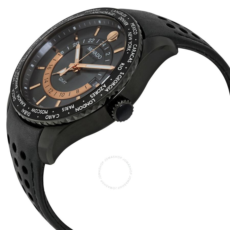 Movado series 800 gray dial black leather strap men 39 s watch 2600118 800 movado watches for Black leather strap men