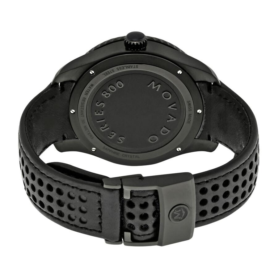 Movado series 800 gray dial black leather strap men 39 s watch 2600118 800 movado watches for Black leather strap