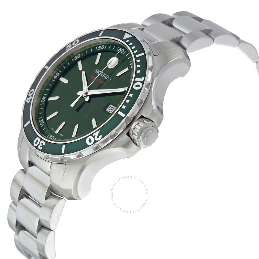 Movado series 800 green dial stainless steel men 39 s watch 2600136 800 movado watches jomashop for Stainless steel watch