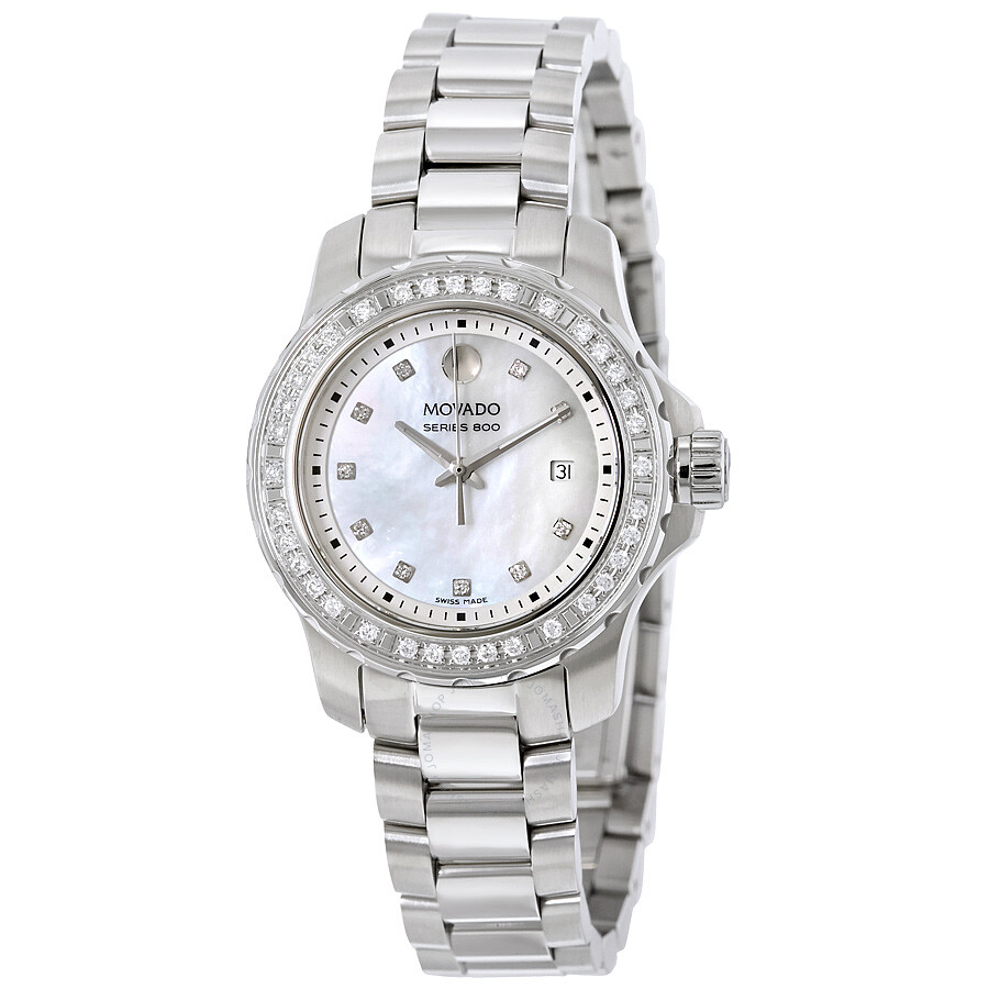 Movado series 800 white mother of pearl dial ladies for Diamond watches