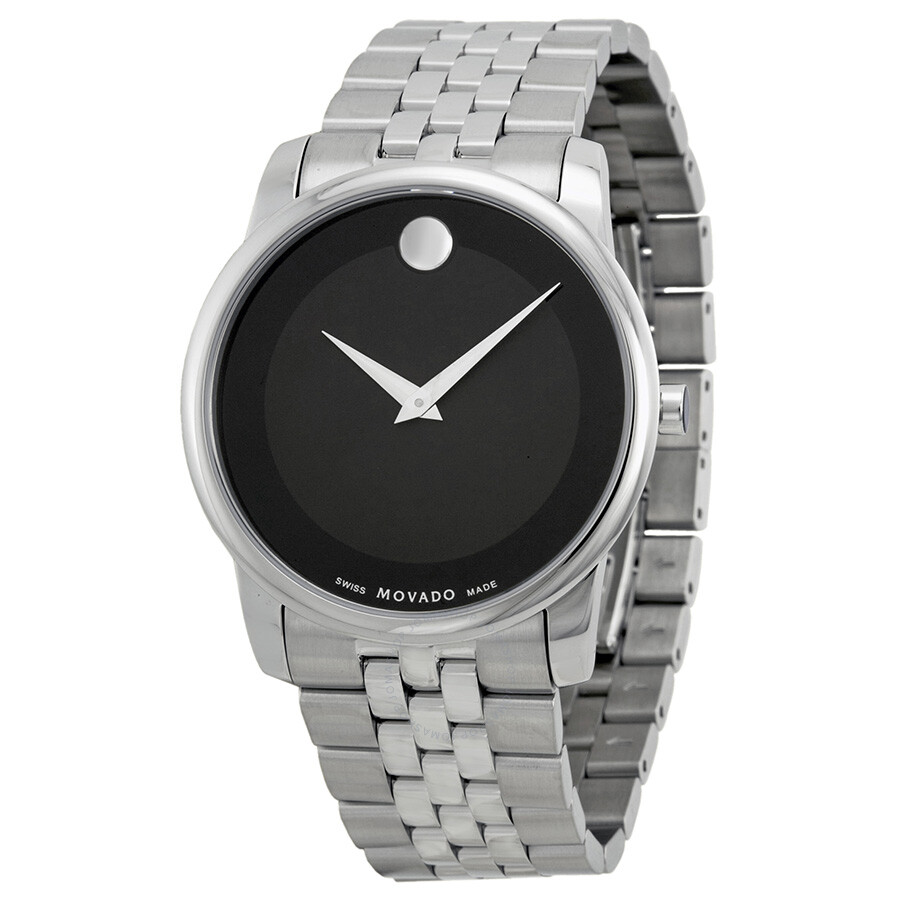 Movado stainless steel black museum dial men 39 s watch 0606504 museum movado watches jomashop for Stainless steel watch