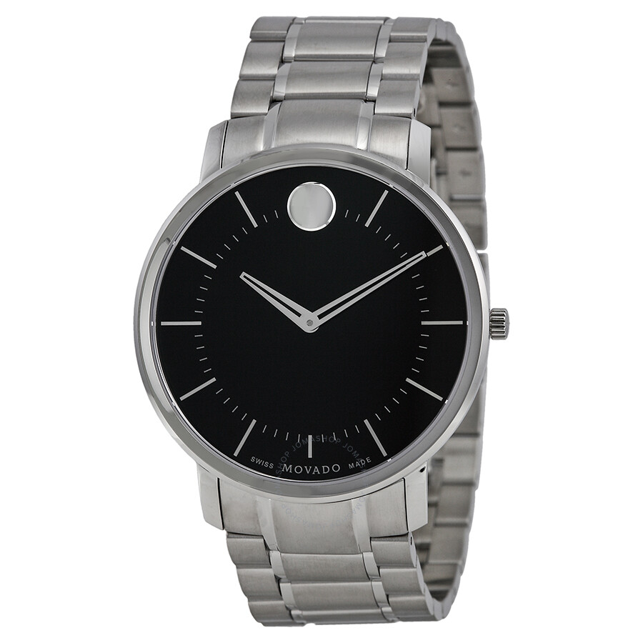 movado thin classic black dial stainless steel men s watch 0606687