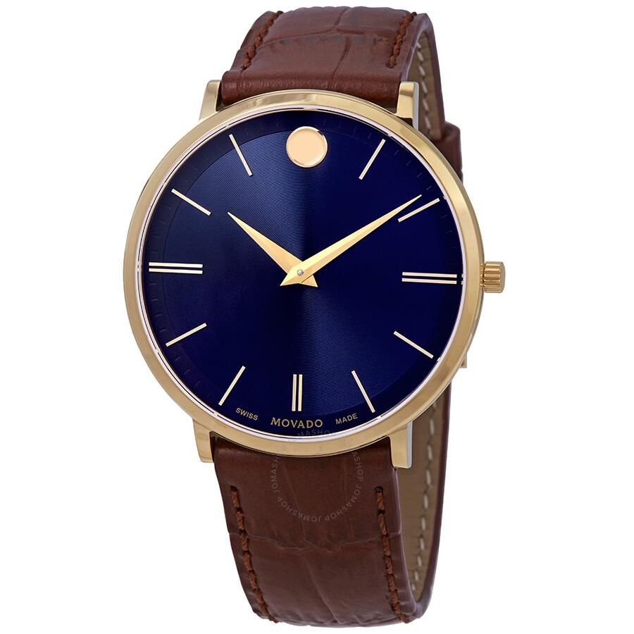 4eb5627b5c8 Movado Ultra Slim Blue Dial Brown Leather Men s Watch 0607174 ...