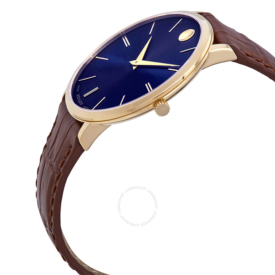 15822e3fdc0 ... Movado Ultra Slim Blue Dial Brown Leather Men s Watch 0607174 ...